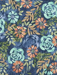 "End of Bolt - 104"" - Tranquility Fabric Collection  - Large Denim Floral"