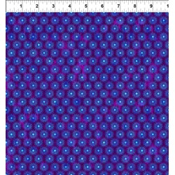 """End of Bolt - 55"""" - Cosmos - Star Bursts on Purple  Jason Yenter for In the Beginning Fabrics"""