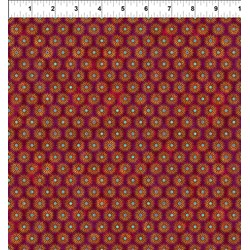 Cosmos - Star Bursts on Burnt Red -  Jason Yenter for In the Beginning Fabrics