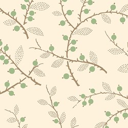"""18"""" Remnant - - Green Berry and Twigs Print - Lady Mary - Downton Abbey Collection by Andover Fabrics"""