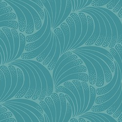 "17"" Remnant - Teal Fan Print - Womens Collection - Downton Abbey by Andover Fabrics"
