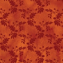 "End of Bolt - 75"" - Fall Bounty Metallic Fabric - Red tonal floral grid - by P&B Textiles"
