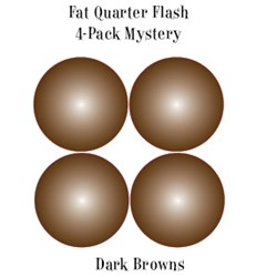 Vintage Fat Quarters- Circa  2012! Dark Brown - Fat Quarter Flash 4-Pack Mystery