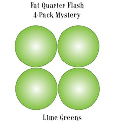 Vintage Fat Quarters- Circa  2012! Lime Greens - Fat Quarter Flash 4-Pack Mystery