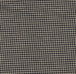 "13"" Remnant - Homespun Fabric Small  Navy/Tan Check"