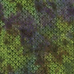 Island Batik Red Tide - Green & Purple Pattern