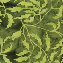Island Batik - Dark Green Leaf Pattern