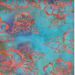Island Batik - Teal with Orange Flowers