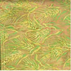 "End of Bolt - 48"" - Island Batik Yellow and Green Leaf"
