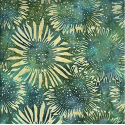 Island Batik - Green/Blue Sunflower