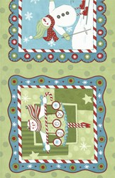 "(4) 12""x12"" Remants (4x pictures)-  It's Snowing Flannel - Snowday Panel"