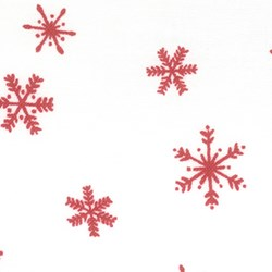 "11""x21"" Remnant -  It's Snowing Flannel - Red Snowflake"