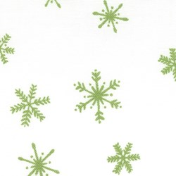 "(4) 13""x10"" Remnants -  It's Snowing Flannel - Green Snowflake"