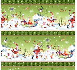 """End of Bolt - 78"""" - More Merriment- Green Border Stripe- by P&B Textiles"""