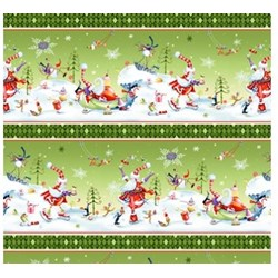 More Merriment- Green Border Stripe- by P&B Textiles