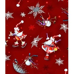 "End of Bolt - 52"" - More Merriment- Red Print- by P&B Textiles"