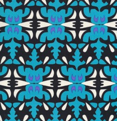Mirrored Teal Tribal  Motif  From Free Spirit Fabrics