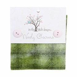 "Wooly Charm Pack - 5"" x 5"" - 5 Textures Per Pack  --Olive"