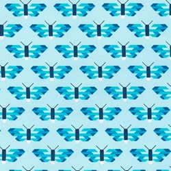 "End of Bolt - 61"" - Paintbox Basics Aqua Butterflies by Elizabeth Hartman for Robert Kaufman Fabrics"