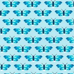 "End of Bolt - 61"" - Paintbox Basics Aqua Butterflies by Elizabeth Hartman for Robert Kaufman Fabrics"