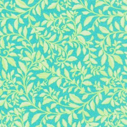 Piccadilly - Teal/Chartreuse Leaf with Silver Metallic Shimmer - by Paintbrush Studios