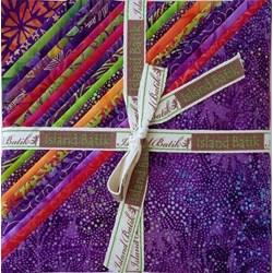"""Vintage Find! Island Batik Razzleberry 10"""" Square - 42 pieces (2 each design)"""