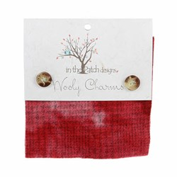 Wooly Charm Pack -5 inch square -  5 Textures Per Pack  -- Red