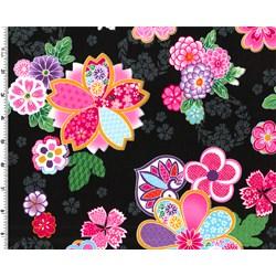 """End of Bolt - 51"""" - Sakura Multi Color Graphic Floral on Black"""