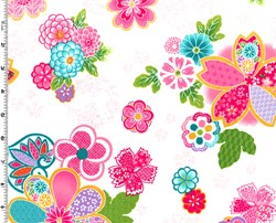 Sakura Multi Color Graphic Floral on Cream