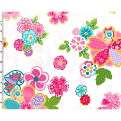 "End of Bolt - 71"" - Sakura Multi Color Graphic Floral on Cream"