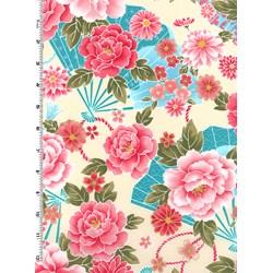 Sakura Sakura Collection - Multi Fans & Florals on Cream