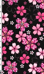 "32"" Remnant  - Sakura - Pink Flowers with Glitter on Black"