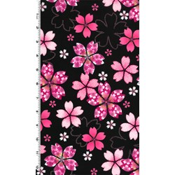 """32"""" Remnant  - Sakura - Pink Flowers with Glitter on Black"""