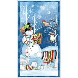 Snowy Friends Panel  Quilt Fabric