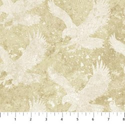"18"" Remnant- Stonehenge Eagles on Mottled Cream - Stars and Stripes by Linda Ludovico for Northcott Fabrics"