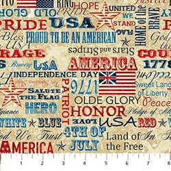 "Remnant - 2 @ 28"" x 60"" strips - Stonehenge- Old Glory Words on Tan"