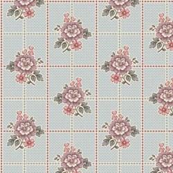 """18"""" Remnant Piece - Blue Floral Squares  - Tour des Fleurs by Henry Glass"""