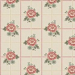 """60"""" End of Bolt Piece - Cream Floral Squares  - Tour des Fleurs by Henry Glass"""