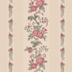 "24"" Remnant- Light Tan Floral Border Stripe - Tour des Fleurs by Henry Glass"