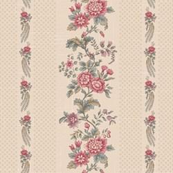 "24"" Remnant- Light Tan Floral Border Stripe - Tour des Fleurs by Henry Glass"