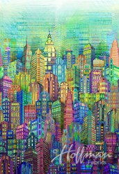 "WN4234-130- CITY 108"" WIDE --  Hoffman Digital Spectrum Print - Opal"