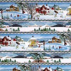 """72"""" End of Bold Piece - Winter's Eve - Village Border Print - by John Sloane for Wilmington Prints"""