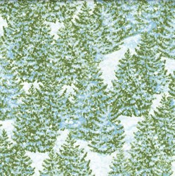 "32"" Remnant Piece - Winter's Eve - Frosted Pine Trees - by John Sloane for Wilmington Prints"