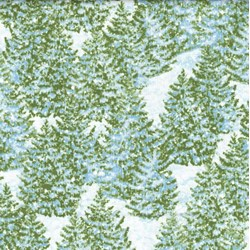 """32"""" Remnant Piece - Winter's Eve - Frosted Pine Trees - by John Sloane for Wilmington Prints"""