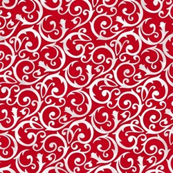 """09"""" Remnant - Frosty Friends 2-Ply Flannel Red Scroll by Henry Glass Fabrics"""