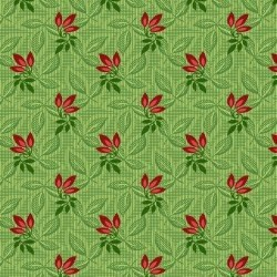 "15"" Remnant - Songbird Christmas - Green with Red Leaves"