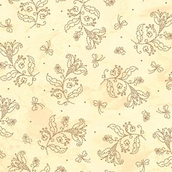 In Stitches - Gold Flowers on Tan #MAS8615-A - by Robin Kingsley for Maywood Studios