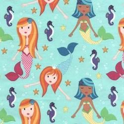 Michael Miller Solid Flannel - Aqua Fairy Tails