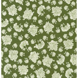 "End of Bolt - 48"" - Heavenly Peace-Medium Floral Evergreen- by Verna Mosquera"