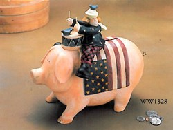 Vintage Find!  Americana Piggy Bank<br>Williraye Studios